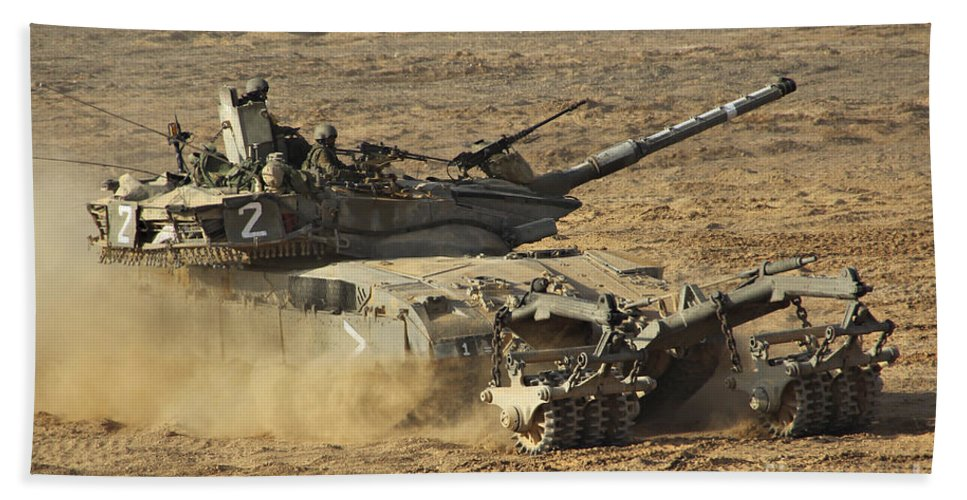 Battletank Bath Sheet featuring the photograph An Israel Defense Force Merkava Mark II by Ofer Zidon