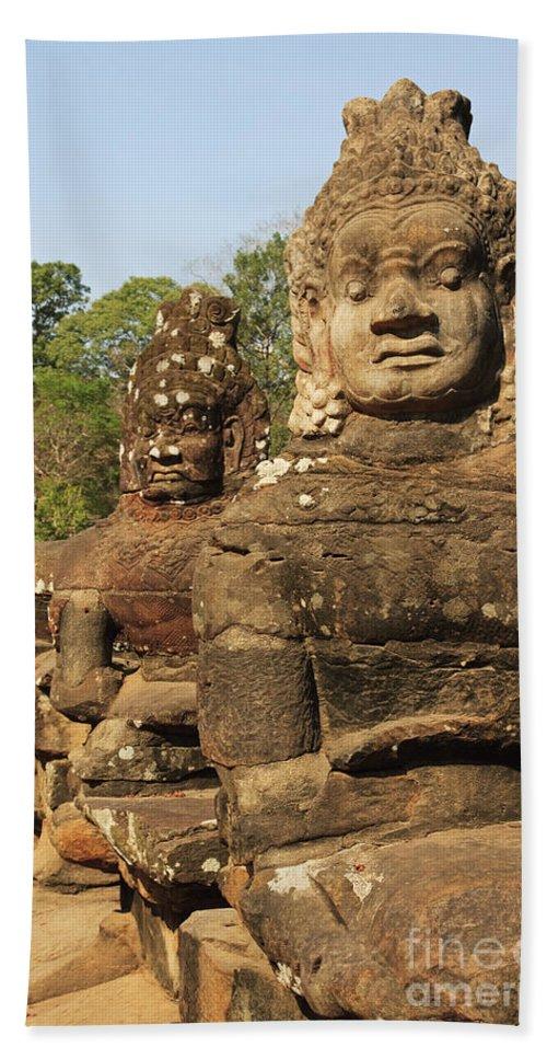 Ancient Bath Sheet featuring the photograph Angkor Thom by David Davis