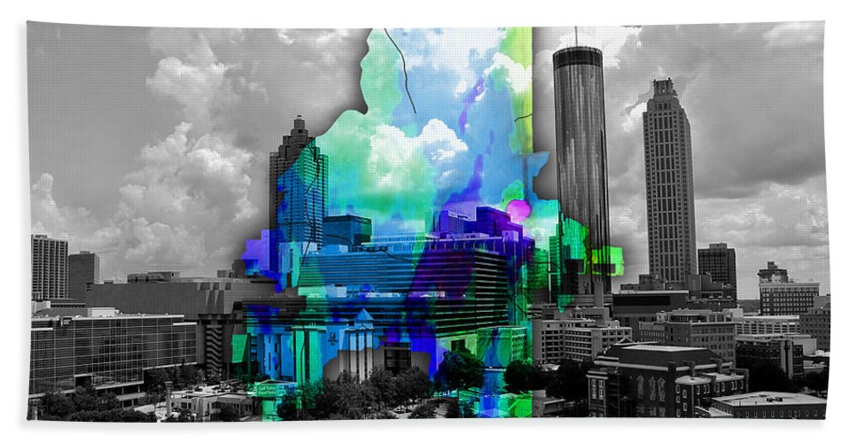 Atlanta Art Bath Sheet featuring the mixed media Atlanta Map And Skyline Watercolor by Marvin Blaine