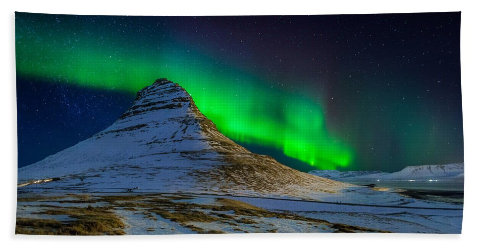 Photography Bath Towel featuring the photograph Aurora Borealis Or Northern Lights by Panoramic Images