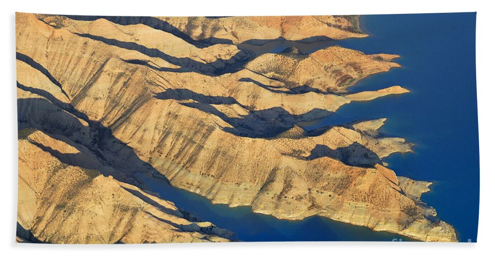 Aerial Photo Hand Towel featuring the photograph Bad Lands by Guido Montanes Castillo