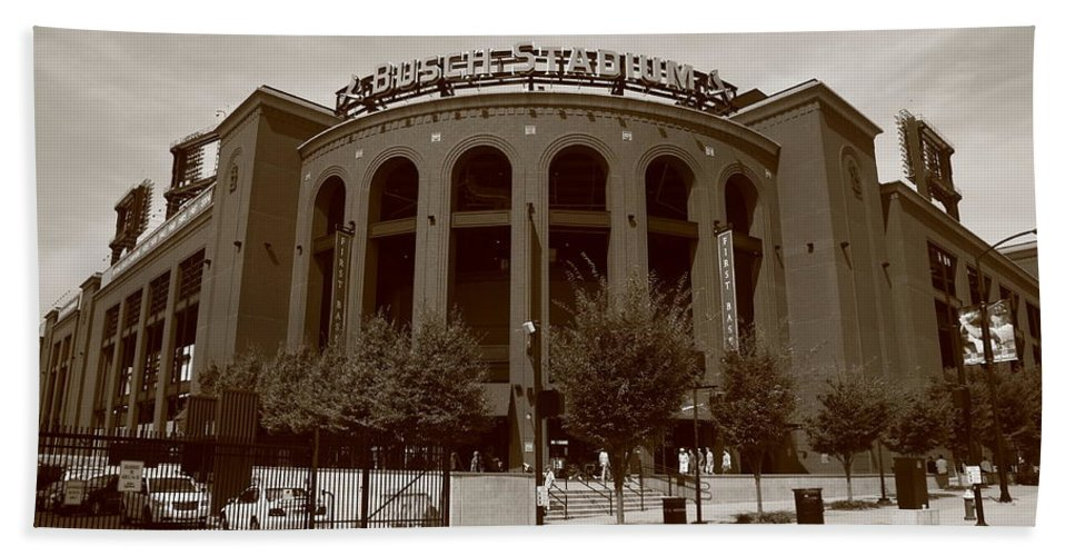 America Bath Sheet featuring the photograph Busch Stadium - St. Louis Cardinals by Frank Romeo