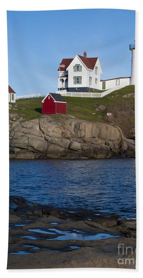 Cape Neddick Bath Sheet featuring the photograph Cape Neddick Lighthouse by John Shaw