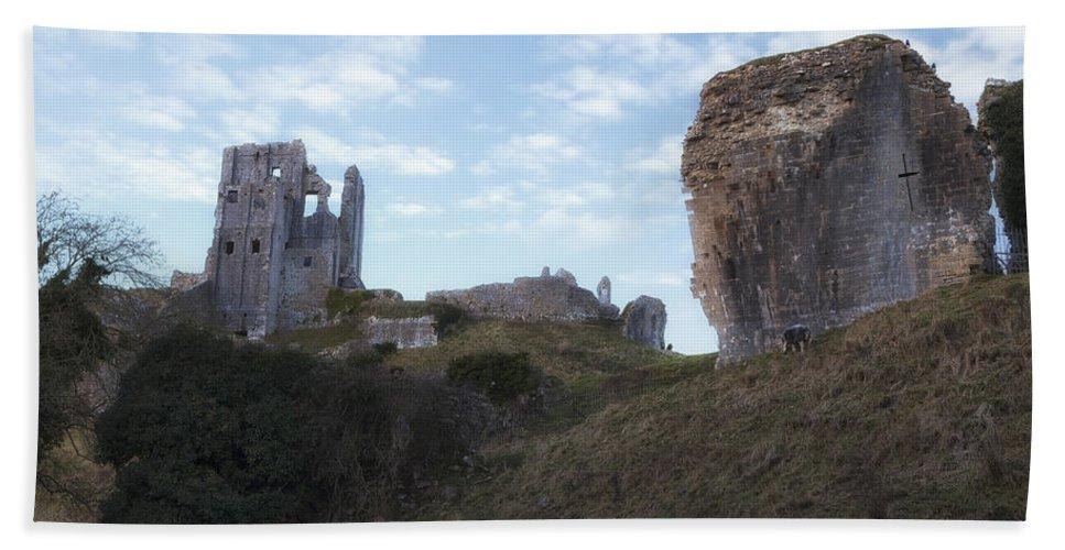 Corfe Castle Hand Towel featuring the photograph Corfe Castle by Joana Kruse