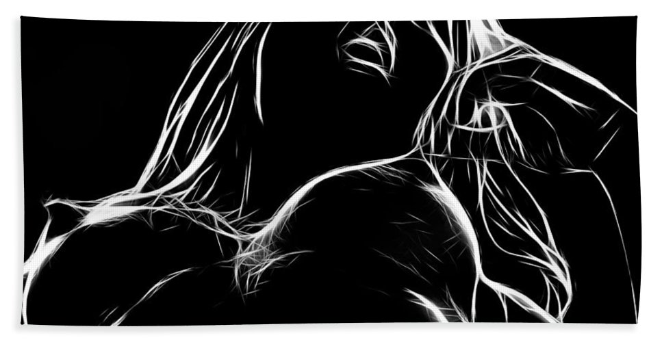Woman Girl Female Nude Naked Boobs Tits Nipples Black White Expressionism Hand Towel featuring the painting Ecstasy by Steve K