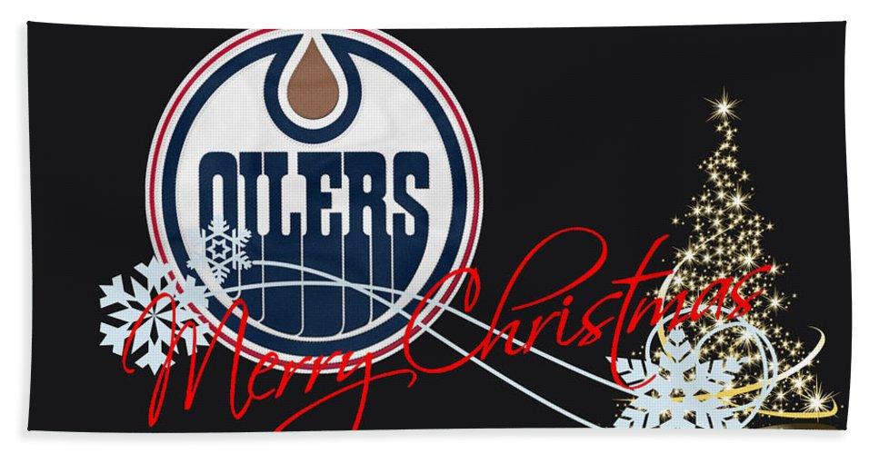 Oilers Bath Sheet featuring the photograph Edmonton Oilers by Joe Hamilton