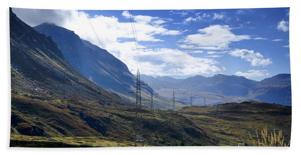 Mountain Bath Sheet featuring the photograph Electricity Pylon by Mats Silvan
