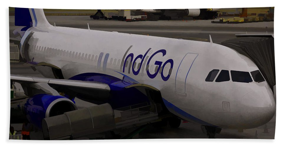 Aerobridge Bath Sheet featuring the photograph Indigo Aircraft Getting Ready In Changi Airport by Ashish Agarwal
