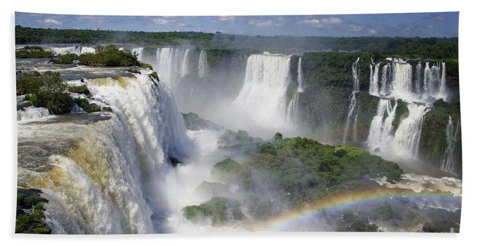 Iguazu Falls Hand Towel featuring the photograph Iquazu Falls - South America by Jon Berghoff