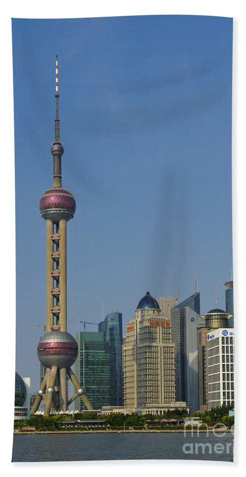 Asia Hand Towel featuring the photograph Pudong Skyline by John Shaw
