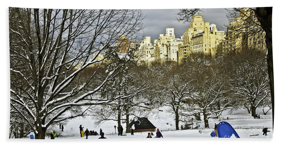Snow Hand Towel featuring the photograph Snowboarding In Central Park 2011 by Madeline Ellis