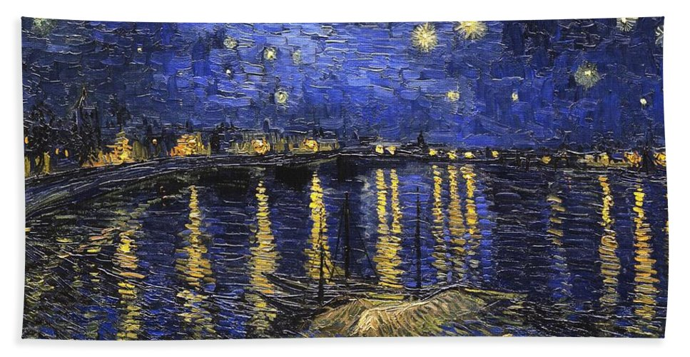 Vincent Van Gogh Hand Towel featuring the painting Starry Night Over The Rhone by Vincent van Gogh