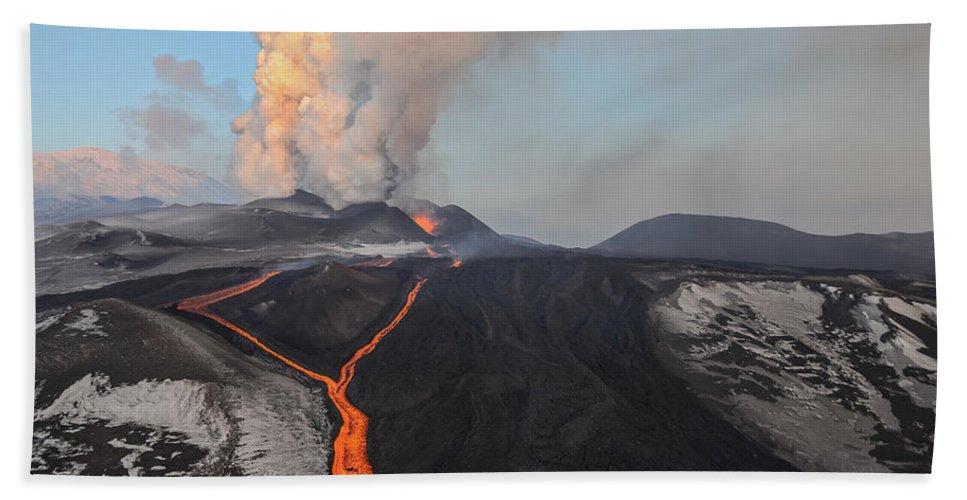 Feb0514 Bath Towel featuring the photograph Tolbachik Volcano Erupting Kamchatka by Sergey Gorshkov