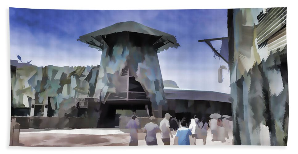 Asia Bath Sheet featuring the digital art Visitors Heading Towards The Waterworld Attraction by Ashish Agarwal
