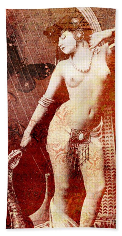 Nostalgic Seduction Bath Sheet featuring the mixed media Winsom Women by Chris Andruskiewicz