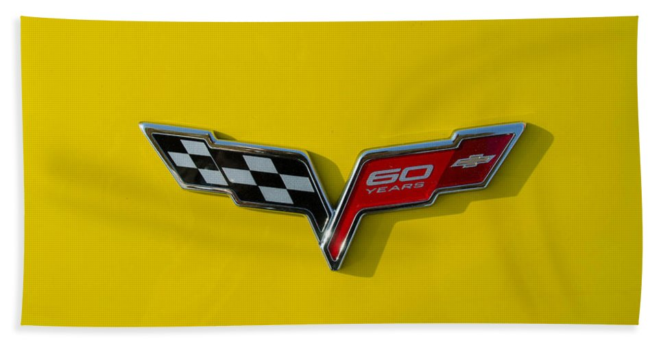 2013 Corvette Bath Sheet featuring the photograph 60 Years Old In Yellow by Guy Whiteley