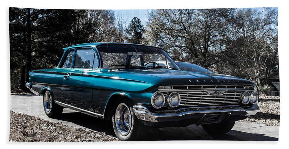 Chevrolet Hand Towel featuring the photograph 61 Chevrolet Biscayne by Shannon Harrington
