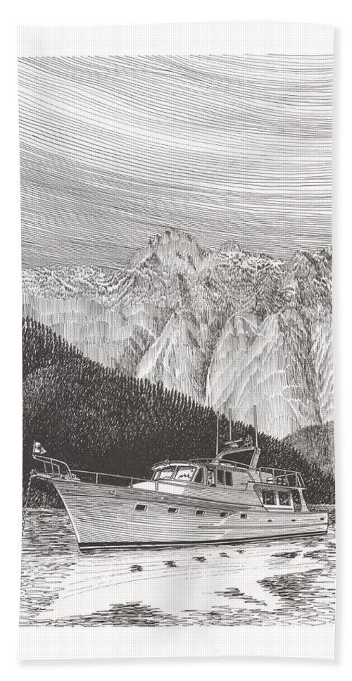 A Pen & Ink Yacht Portrait Of A 65 Foot Yacht Anchored In Desolation Sound Bath Sheet featuring the drawing Desolation Sound Quiet Anchorage   by Jack Pumphrey