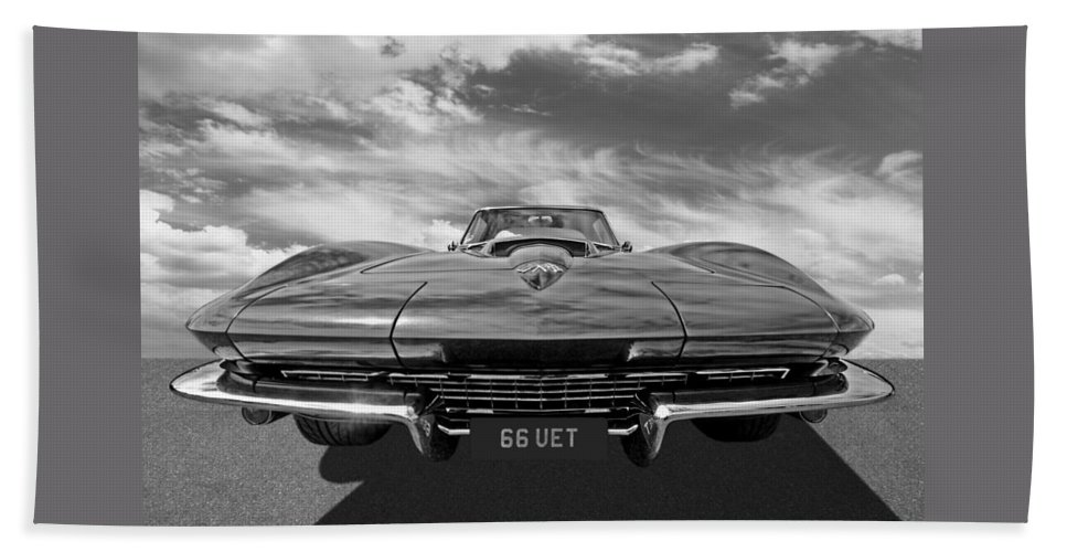 Corvette Stingray Bath Sheet featuring the photograph 66 Vette Stingray In Black And White by Gill Billington