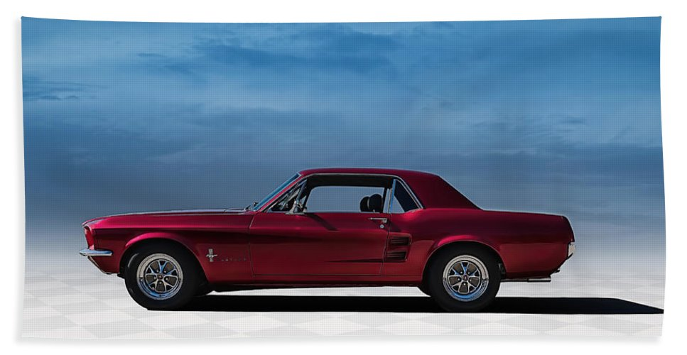 Mustang Bath Towel featuring the digital art 67 Mustang by Douglas Pittman
