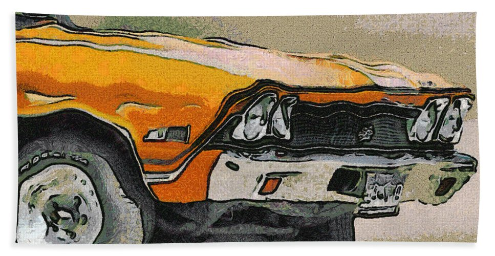 68 Chevelle Abstract Hand Towel featuring the digital art 68 Chevelle Abstract by Ernie Echols