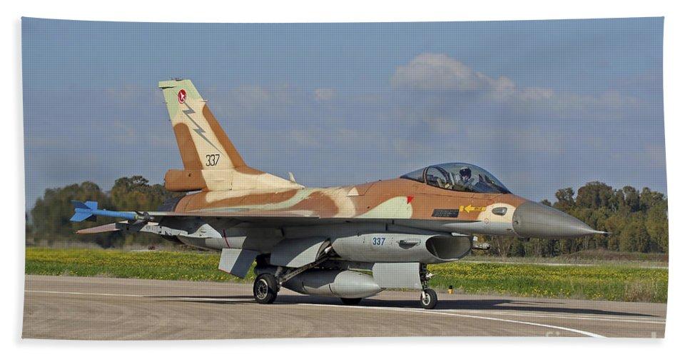 Transportation Bath Sheet featuring the photograph An F-16c Barak Of The Israeli Air Force by Ofer Zidon