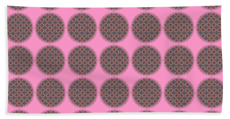Abstract Hand Towel featuring the digital art 7 By 7 On Pink by Helena Tiainen