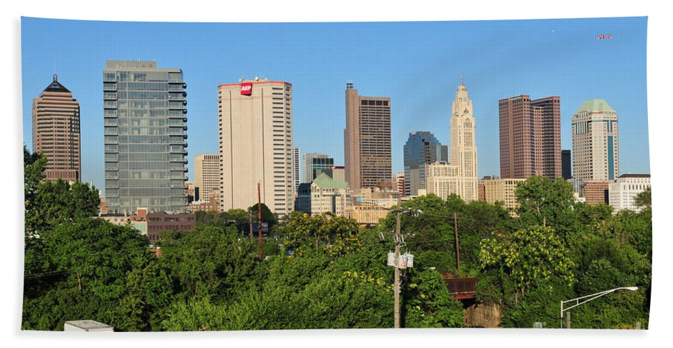 Columbus Hand Towel featuring the photograph Columbus Ohio Skyline Photo by Ohio Stock Photography
