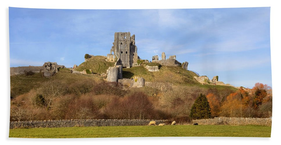 Corfe Castle Hand Towel featuring the photograph Corfe Castle by Joana Kruse