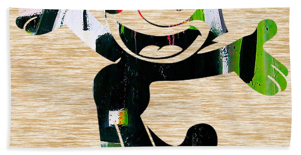 Felix Paintings Hand Towel featuring the mixed media Felix The Cat by Marvin Blaine