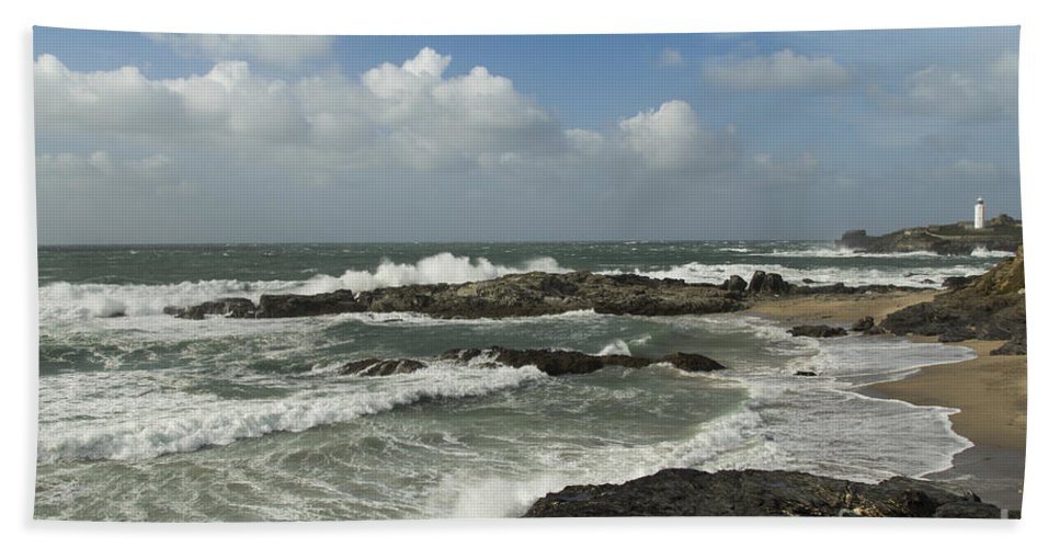 Landscape Bath Sheet featuring the photograph Godrevy Lighthouse by Brian Roscorla