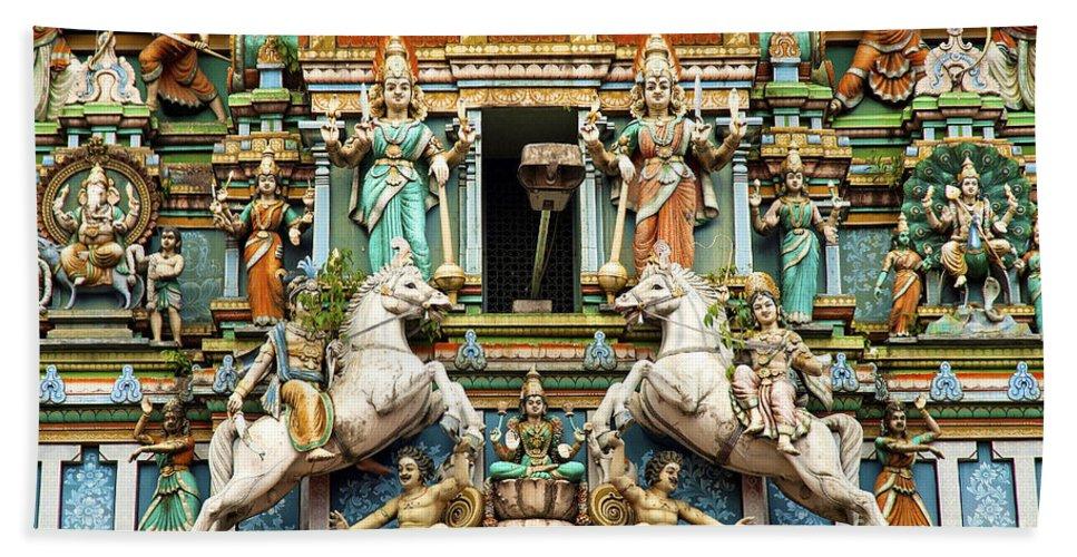 Hindu Hand Towel featuring the photograph Hindu Temple With Indian Gods Kuala Lumpur Malaysia by Jacek Malipan