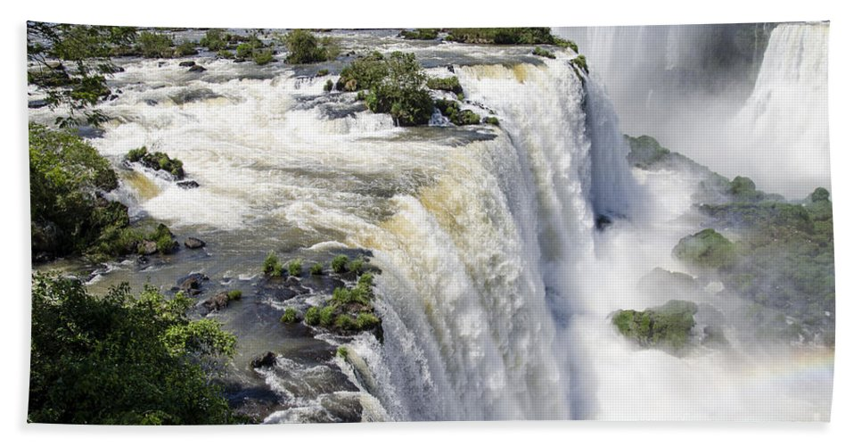 Iguazu Falls Hand Towel featuring the photograph Iquazu Falls - South America by Jon Berghoff