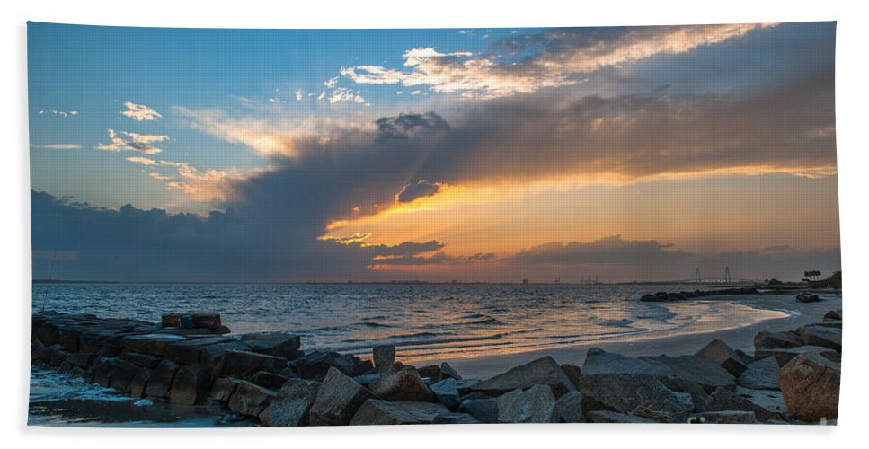 Sullivan's Island Hand Towel featuring the photograph Sc Lowcountry Sunset by Dale Powell