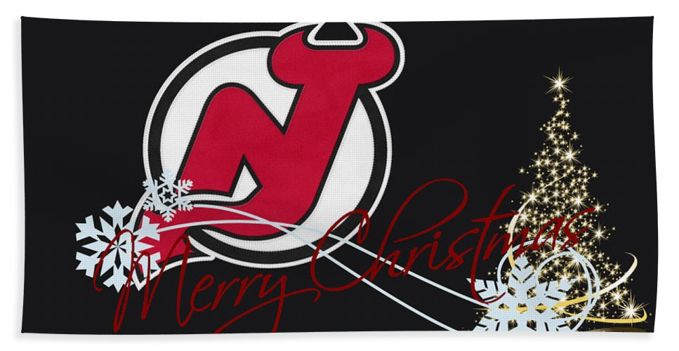 Devils Bath Sheet featuring the photograph New Jersey Devils by Joe Hamilton