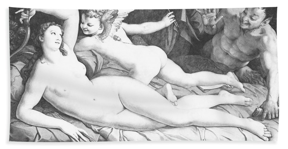 Bronzino Hand Towel featuring the painting Nude Art by Snowflake Obsidian