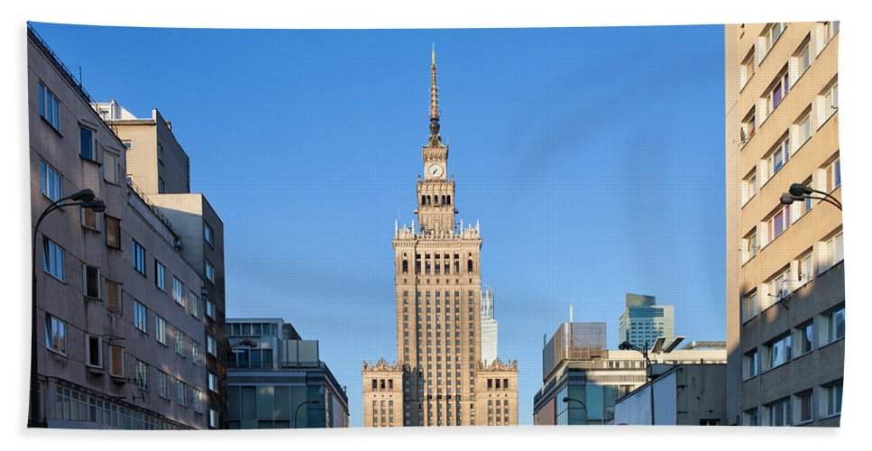Warsaw Bath Sheet featuring the photograph Palace Of Culture And Science In Warsaw by Artur Bogacki