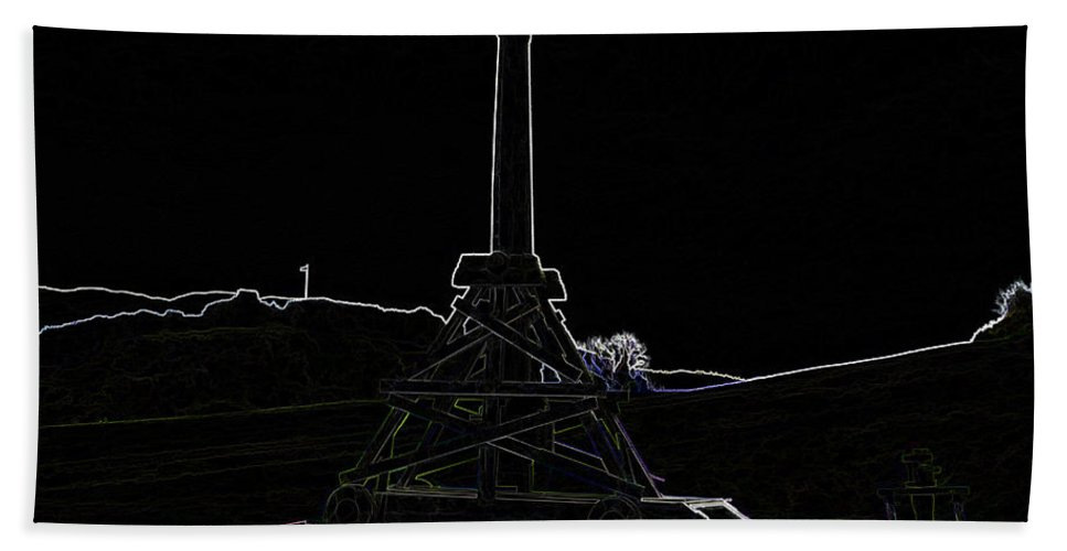 Castle Bath Sheet featuring the digital art Replica Of Wooden Trebuchet And The Ruins Of The Urquhart Castle by Ashish Agarwal