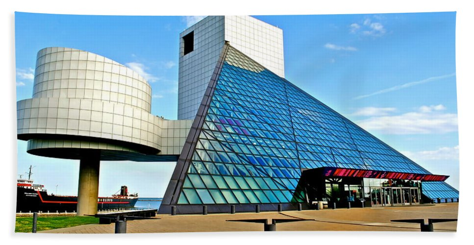 Rock Bath Towel featuring the photograph Rock and Roll Hall of Fame by Frozen in Time Fine Art Photography
