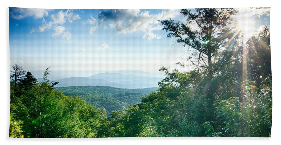 Mountains Bath Sheet featuring the photograph Sunrise Over Blue Ridge Mountains Scenic Overlook by Alex Grichenko