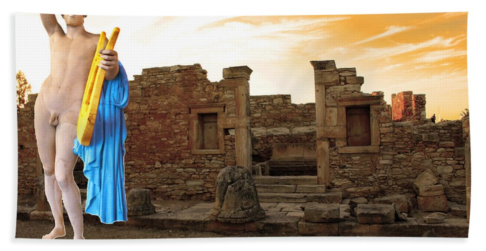 Augusta Stylianou Hand Towel featuring the digital art The Palaestra - Apollo Sanctuary by Augusta Stylianou