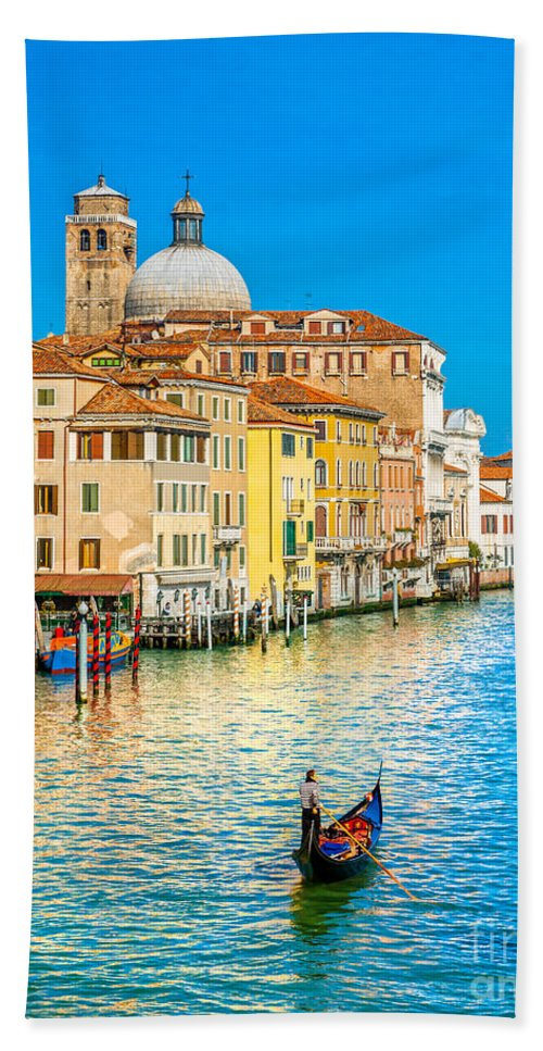Gondola Hand Towel featuring the photograph Venice by Luciano Mortula