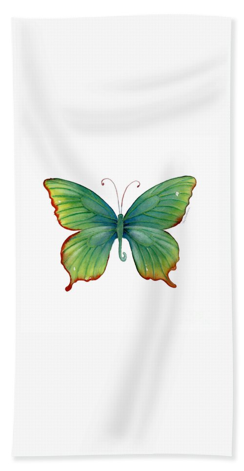 Butterfly Hand Towel featuring the painting 74 Green Flame Tip Butterfly by Amy Kirkpatrick