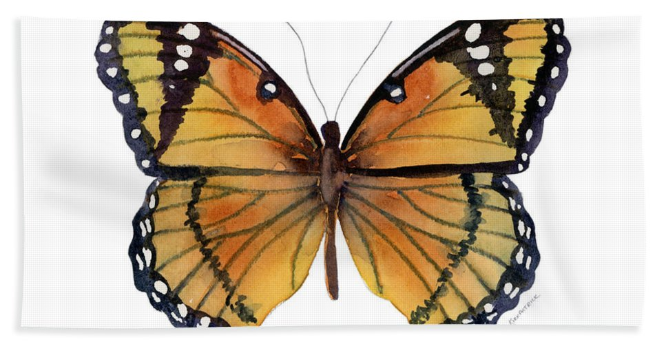Viceroy Bath Towel featuring the painting 76 Viceroy Butterfly by Amy Kirkpatrick