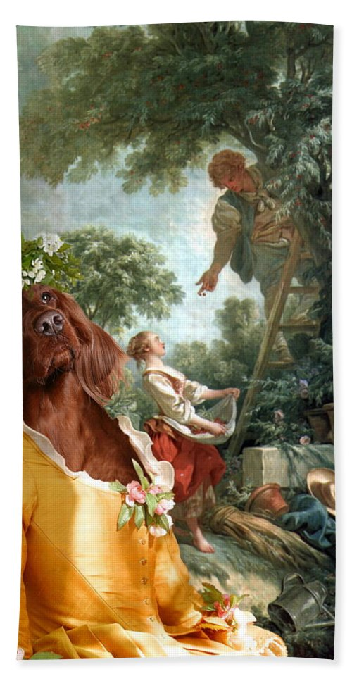 Irish Setter Hand Towel featuring the painting Irish Setter Art Canvas Print by Sandra Sij