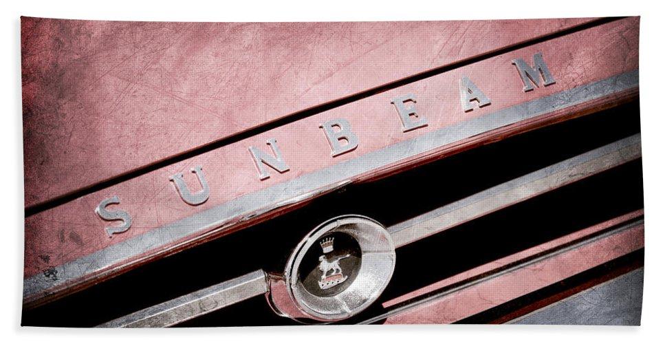 1965 Sunbeam Tiger Grille Emblem Hand Towel featuring the photograph 1965 Sunbeam Tiger Grille Emblem by Jill Reger
