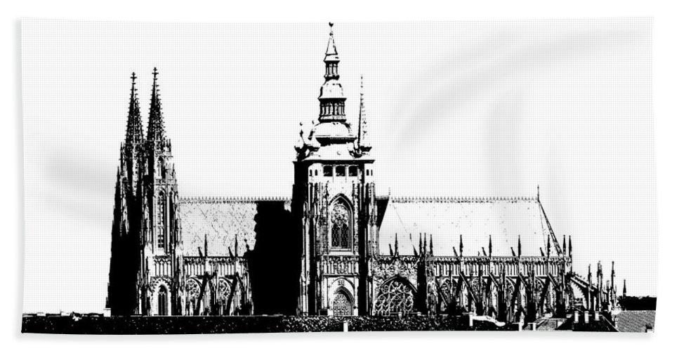 Hradcany Bath Sheet featuring the digital art Cathedral Of St Vitus by Michal Boubin