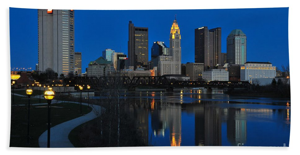 Columbus Hand Towel featuring the photograph Columbus Ohio Skyline At Night by Ohio Stock Photography