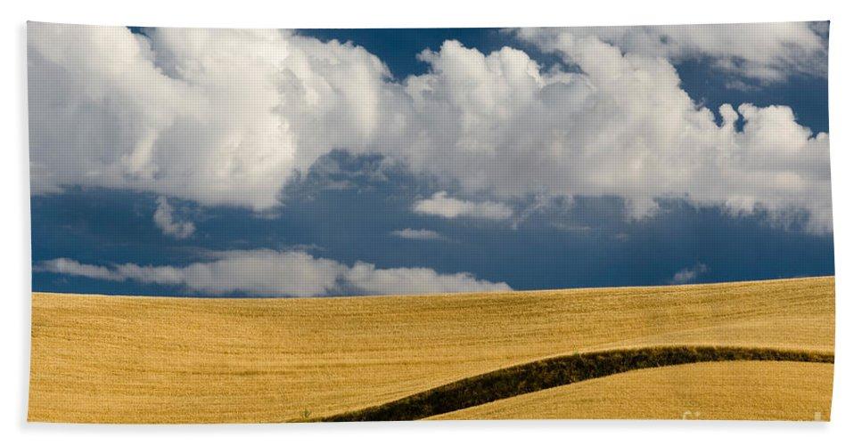 Cloud Bath Sheet featuring the photograph Farm Field by John Shaw