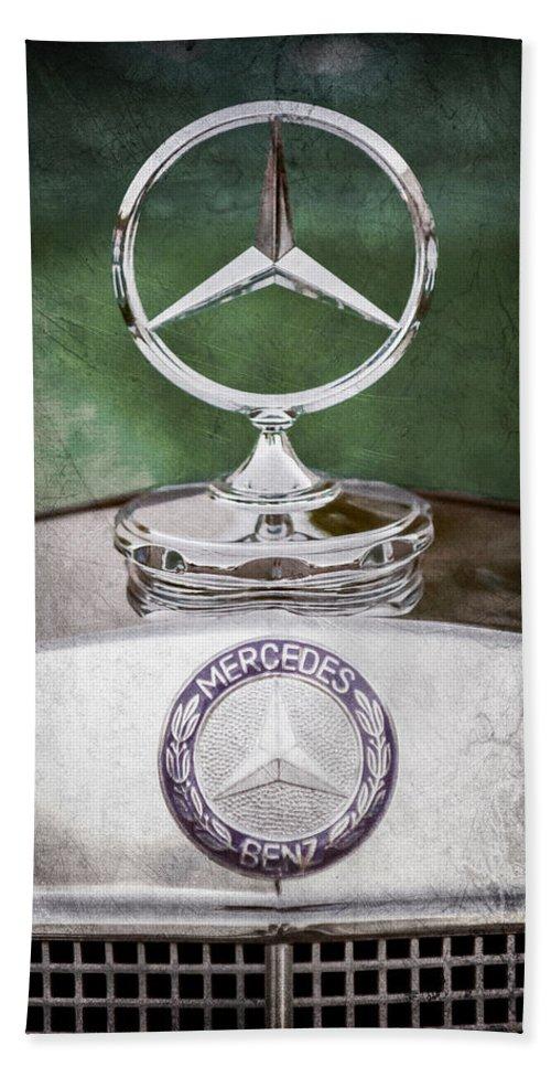 Mercedes Benz Hood Ornament Hand Towel featuring the photograph Mercedes Benz Hood Ornament by Jill Reger